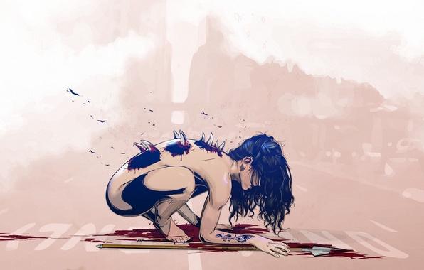 Картинка девушка, кровь, монстр, тату, арт, шипы, татуировка, копье