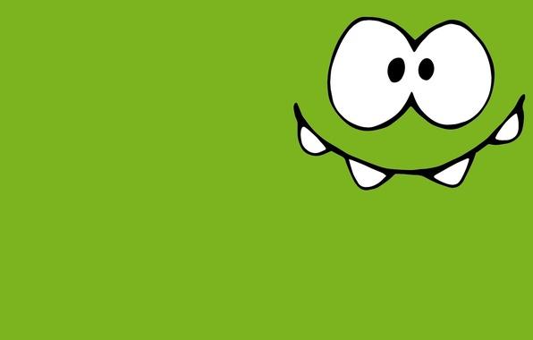 Картинка зеленый, маленький, монстрик, леденец, персонаж, довольный, Cut the Rope, минимализм., любитель, вселенной, Om-Nom, Ам Ням, …