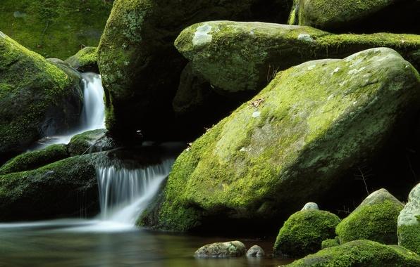 Картинка природа, камни, водопад