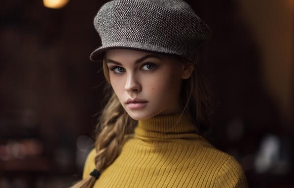 Картинка взгляд, девушка, лицо, портрет, кепка, Анастасия Щеглова