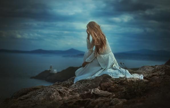 Картинка девушка, пейзаж, камень, платье, TJ Drysdale