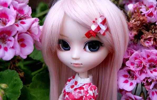 Картинка цветы, игрушка, кукла, заколка, розовые волосы