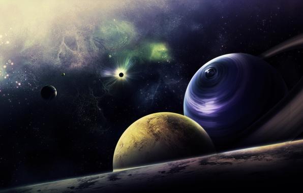 Картинка космос, звезды, туманность, планеты, кольца, арт