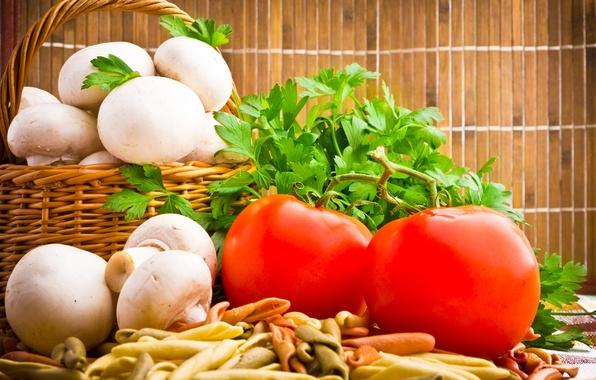 Картинка зелень, корзина, грибы, помидоры, шампиньоны
