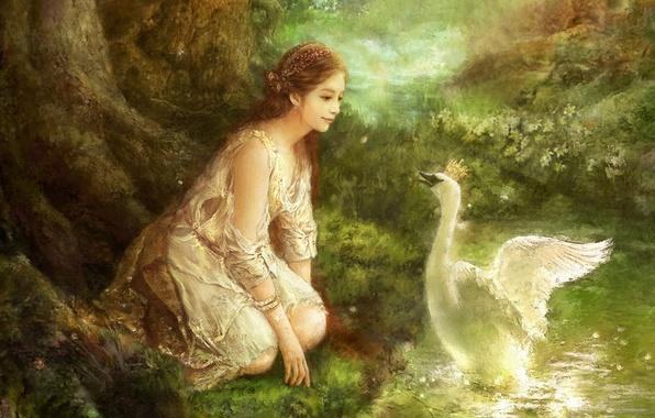 Картинка лес, цветы, ручей, масло, картина, корона, фэнтези, арт, лебедь, fantasy, forest, swan, принцесса, холст, South …