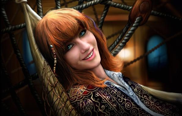 Картинка девушка, улыбка, эмоции, сетка, гамак, рыжая, бусины, лежа