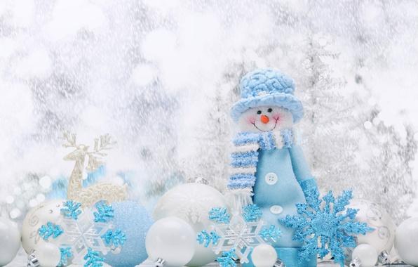 Картинка Шарики, Снежинки, Новый год, Праздник, Снеговик
