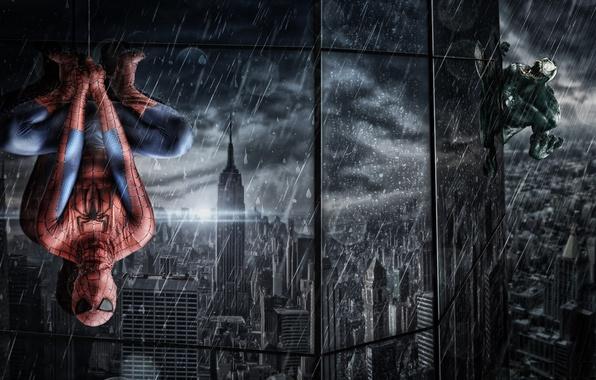 Картинка отражение, дождь, здание, окна, паутина, костюм, ливень, висит, человек паук, Spider-Man, Venom