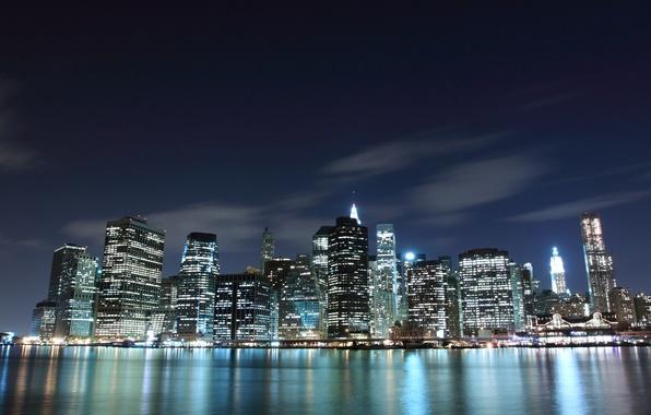 Картинка море, вода, свет, ночь, огни, страны, города, океан, вид, дома, америка, сша, небоскрёбы, штаты, usa, …