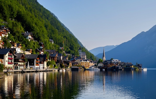 Картинка горы, озеро, дома, Австрия, Альпы, Austria, Hallstatt, Alps, Гальштатское озеро, Гальштат, Lake Hallstatt
