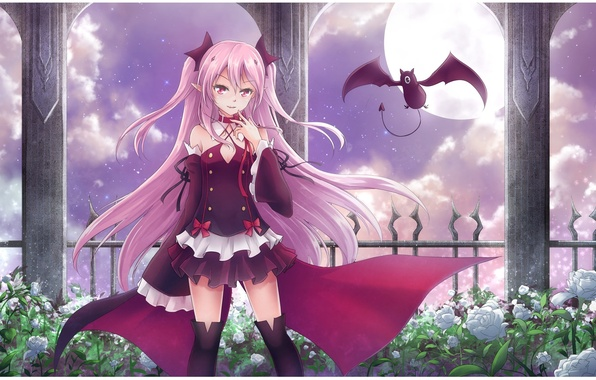 Картинка ночь, розы, чулки, вампир, летучая мышь, полнолуние, розовые волосы, Krul Tepes, Owari no Seraph, Последний …