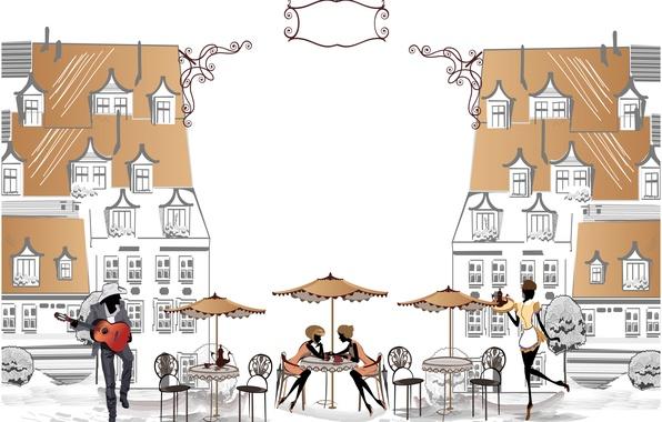 Картинка музыка, девушки, улица, здание, площадь, кафе, парень, столики