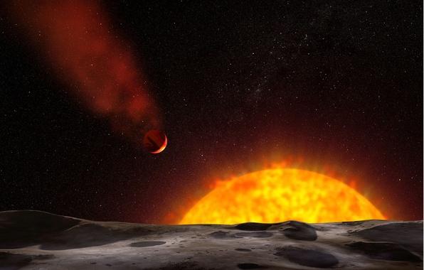 Картинка поверхность, звезда, спутник, газовый гигант, экзопланета, планетная система, жёлтый карлик, созвездие пегас, hd 209458, осирис