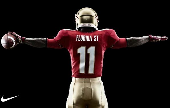 Картинка мяч, шлем, униформа, Nike, Американский футбол, NCAA, атлет, college football, Florida State