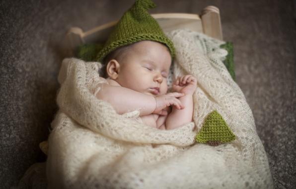 Картинка дети, шапка, сон, малыш, спит, платок, ребёнок, младенец, кроватка