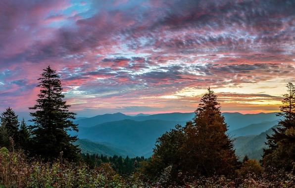 Картинка пейзаж, закат, горы