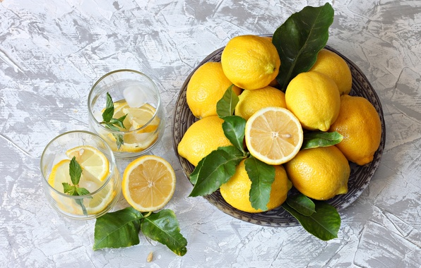 Картинка цитрусы, лимоны, лимонад