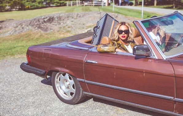 Картинка машина, девушка, очки, блондинка, певица, знаменитость, Beyonce