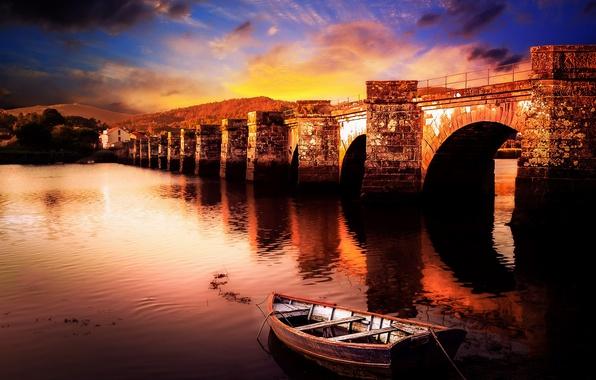 Картинка мост, лодка, Spain, Galicia, Ponte Nafonso, Ceilan