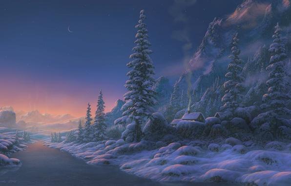 Картинка зима, снег, закат, горы, река, дома, вечер, арт, Fel-X