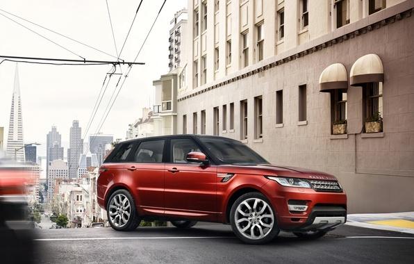 Картинка красный, внедорожник, Land Rover, Range Rover, город.