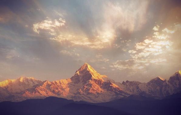 Картинка пейзаж, горы, панорама, горный хребет, Nepal, Machapuchare 7000m