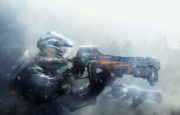 Картинка снег, оружие, войны, арт, солдаты, шлем, броня, метель
