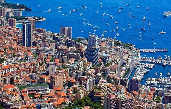 Картинка море, дома, яхты, порт, катера, набережная, небоскрёбы, Монако