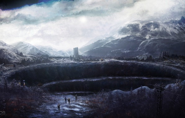 Картинка облака, горы, природа, люди, техника, арт, yu-kun