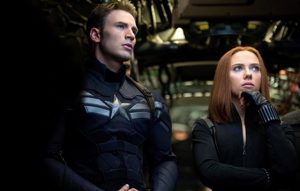 Картинка Scarlett Johansson, Скарлетт Йоханссон, Marvel, Captain America, Крис Эванс, Black Widow, Чёрная вдова, Natasha Romanoff, …