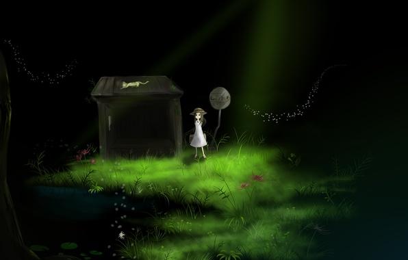 Картинка трава, кот, вода, свет, цветы, дом, знак, шляпа, аниме, арт, девочка, сумка, yatsude
