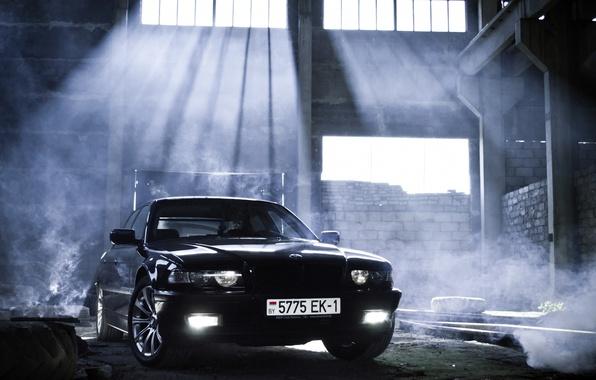 Картинка car, свет, тюнинг, дым, bmw, smoke, tuning, бумер, семёрка, e38, 7 series, bumer