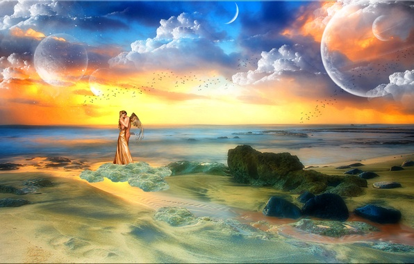 Картинка море, небо, девушка, облака, любовь, птицы, камни, фантастика, океан, планеты, человек, крылья, ангел, горизонт, love, …