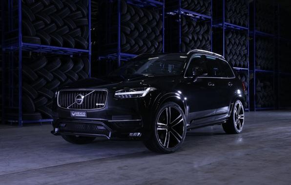 Картинка черный, Volvo, внедорожник, Black, XC90, вольво, кроссовер, Heico Sportiv