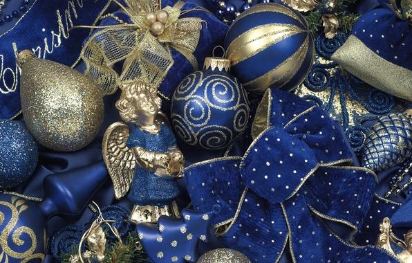 Картинка зима, шарики, игрушки, Новый Год, Рождество, бант, Christmas, синие, золотые, винтаж, праздники, New Year, елочные