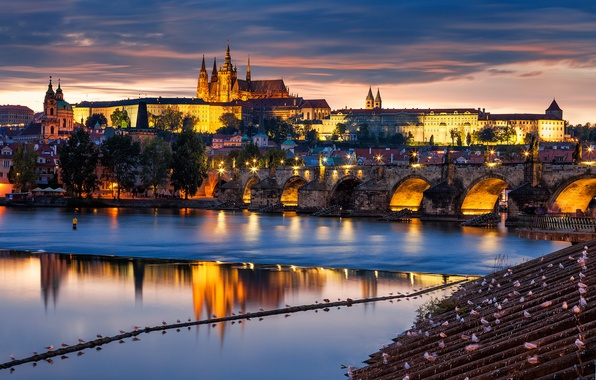 Картинка мост, город, река, здания, вечер, Прага, Чехия, архитектура, Prague, Czech, Влтава, Praha