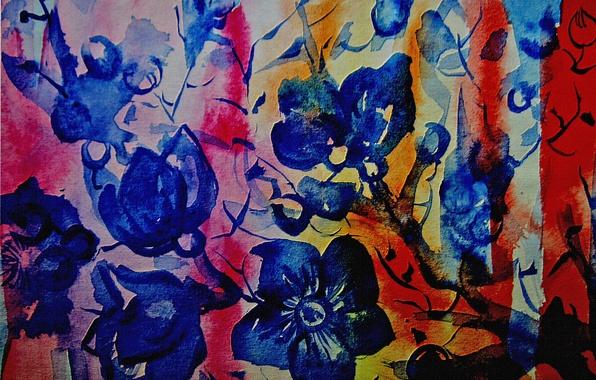 Картинка цветы, абстракция, полосы, Рисунок