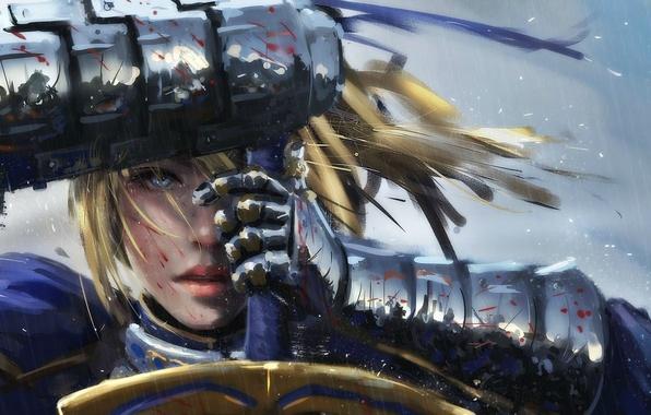 Картинка girl, sword, fantasy, rain, armor, saber, Warrior, art, blue eyes, painting, blonde, artwork