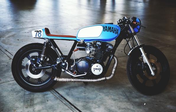 Картинка yamaha, vintage, motorcycle, cafe, motorbike, cafe racer