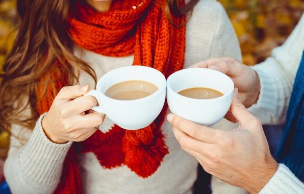 Картинка осень, кофе, чашка, hot, happy, autumn, couple, coffee