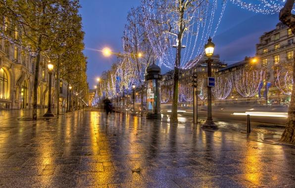 Картинка дорога, огни, обои, улица, париж, франция, paris, France, wallpapers