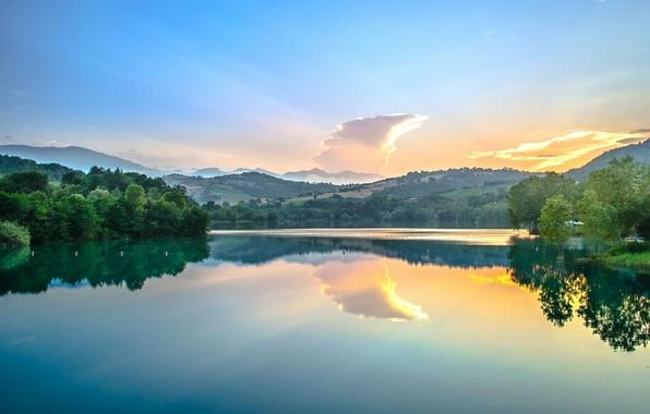 Картинка отражение, река, рассвет, Италия, Italy, Marche, Марке