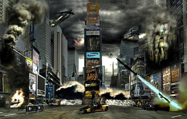 Картинка fire, flame, horror, USA, not, soldiers, sky, the, smoke, war, night, art, New York, street, …