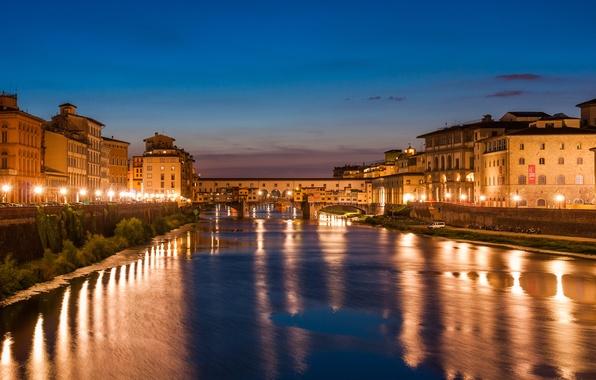 Картинка море, небо, облака, city, город, lights, огни, океан, здания, Ночь, Венеция, Флоренция, river, sky, Night, …