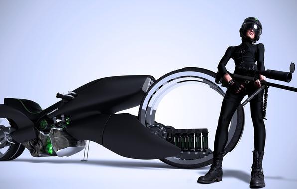 Картинка девушка, оружие, мотоцикл, шлем, Honda, винтовка, рендер