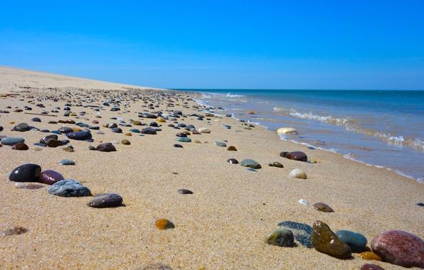 Картинка песок, море, волны, пляж, небо, камни