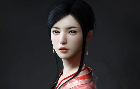 Картинка взгляд, девушка, серьги, арт, Mario Wibisono, кимоно, азиатка