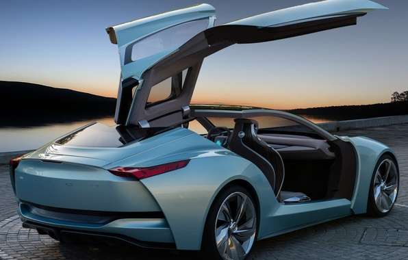 Картинка машина, Concept, небо, открытые двери, крылья чайки, Riviera, Buick