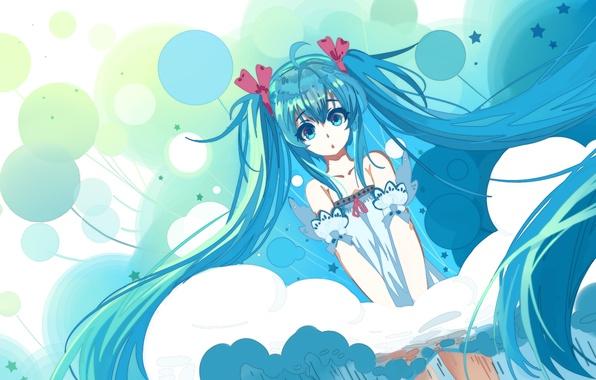 Картинка девушка, шарики, удивление, аниме, арт, vocaloid, hatsune miku, haraguroi you