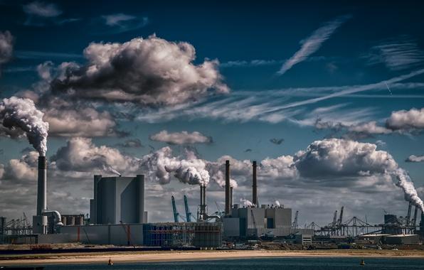 Картинка трубы, завод, дым, экология, фабрика